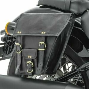 Pair Motorcycle Saddle Side Bag Luggage Black Real Leather Tool Pouch 2 Panniers