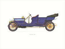 Canvas Print Vintage Car Poster Illustration - Lancia 1909 Vintage Car