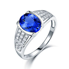 14K White Gold Natural Tanzanite & Diamond Gem Stone Wedding Ring Men And Women