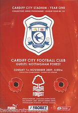 CARDIFF CITY v NOTTINGHAM FOREST (Coca-Cola Championship 1.11.2009) Programme