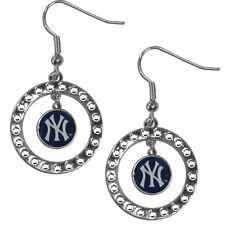 New York Yankees Hoop Earrings (Rhinestones) MLB Licensed Jewelry