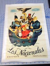 Los Nacionales Propaganda  Advertisment On High Quality CANVAS Spanish Civil War