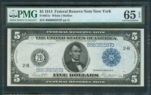 $5 FRN Series 1914 New York, Fr. 851c, PMG Gem Unc. 65 EPQ