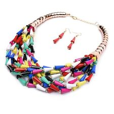 Chunky Gold Multi Color Beaded Layered Bohemian Bib Statement Necklace Set