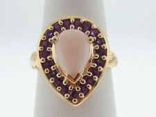 Natural Opal Amethyst Solid 14K Yellow Gold Ring FREE Sizing