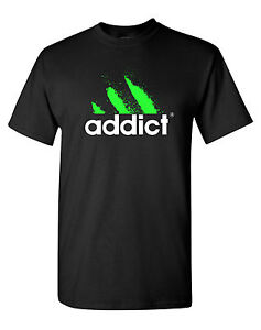 Addict T-Shirt Funny Dope Drug Cocaine EDM DJ Club Hip-Hop Rap Street