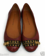 New Marc Jacobs burgundy leather grommet zipper flats EU 37/ UK 4