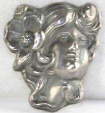 ART NOUVEAU ANTIQUE STERLING SILVER REPOUSSE LADY FACE HEAD POPPY FLOWER PIN