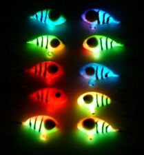 10 pc set Neon Tiger Glow Ice Jigs Size #6 Handmade in the USA