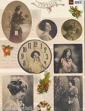 VICTORIAN VINTAGE STYLE WOMEN POSTCARD CHRISTMAS CUTOUT PAPER ORNAMENT COLLAGE