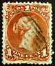 Early Canada #22 1c Brown Red 1868 Large Queen VF Used Repaired