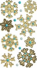 WINTER Snowflakes Snow Flakes Wooden Crystals Embellished Jolee's Stickers