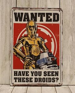 Wanted Have You Seen These Droids Tin Poster Sign Man Cave Star Wars R2-D2 C3PO