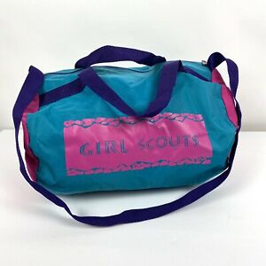 Vintage Pink Blue Purple Girl Scout Small Duffle Overnight Bag