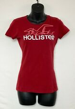 Hollister Womens Red Short Sleeve Top w White and Pink Graphic Logo Front Sz M