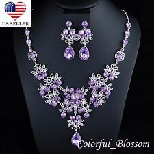 Daisy Purple Rhinestones Crystal Necklace Earrings Set Bridal Prom Party N40p
