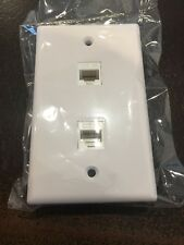 2 Port White Wall Plate W/ CAT5e RJ45 Double Female Inline Coupler Ethernet Jack