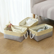 3PCs Foldable Linen Clothes Toy Storage Box Bag With Rope Handles Home Grey US
