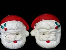 Vintage Winking Christmas Santa Claus Faces   Salt and Pepper Shaker set  Japan