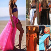 Womens Beach Swimwear Bikini Sunscreen Cover Up Long Maxi Skirt Dress Chiffon