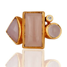 Rose Chalcedony Gemstone Designer Ring Gold Plated Brass Fashion Jewelry