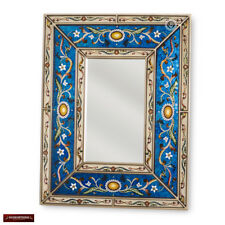 Peruvian Arts Crafts Mirror for wall - Handpainted Glass Wood Rectangular mirror