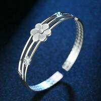 Women 925 Sterling Silver Solid Flower Wristband Bracelet Bangle Cuff Charm Gift