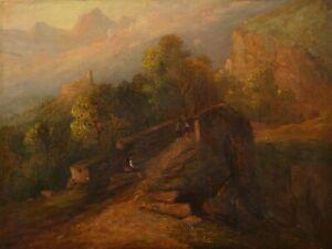 Mountainous Italian Landscape with a Bridge   19th Century Antique Oil Painting