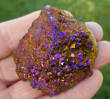 TITANIUM GOLD AURA QUARTZ DRUZY GEODE SPECIMEN 55mm x 50mm BAG * ID CARD