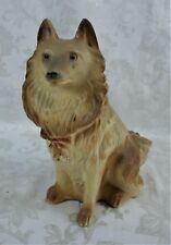 Antique 1930's Chalkware Statue Collie Lassie Figure Large Dog Figurine 11.25""