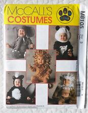 Mccalls Tom arma Niños Pequeños Animal trajes patrón de costura 3 años de edad (M6105)