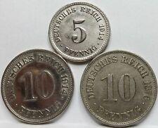 GERMANY lot 3x 10 Pfennig 1876 A 10 pfennig 1914 E 5 pfennig 1914 A XF #C74