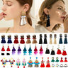 Women's Fashion Boho Dangle Long Tassel Earrings Fringe Crystal Ear Drop Jewelry