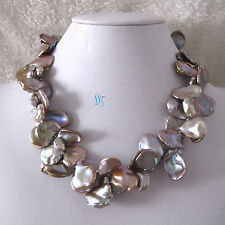 """2Row Freshwater Pearl Necklace 18"""" 16-18mm Lavender Keshi"""