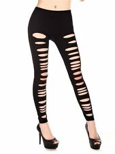 New Cut Out Leggings Stretch Ladies Slits Sexy Trendy Black Footless UK 8,10,12