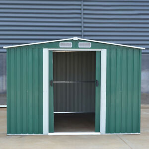 Outdoor Heavy Duty Galvanised Metal Garden Storage Shed Flat/Apex Home UK