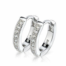 925 STERLING SILVER SMALL white CZ AAA+ Diamonique ROUND HUGGIE HOOP EARRINGS
