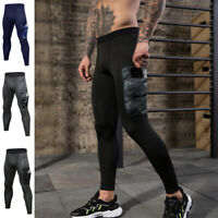 Men's Compression Tights Workout Gym Cool Dry Basketball Base Layer Side Pocket