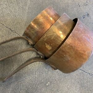 Vintage Harvard Copper Saucepan Pots Set Of 3 Made in France Chef Cookware