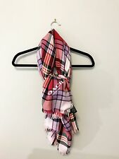 Coach Plaid Wool Scarf Pink Purple Large Shawl Wrap