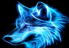 COOL NEON WOLF  IRON ON T SHIRT TRANSFER  IRON ON TRANSFER DESIGN 8X6 NEON WOLF