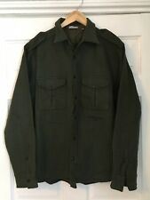 STONE ISLAND Wool Shirt Jacket Military Style DARK KHAKI ARMY GREEN Size XXL