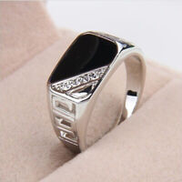 Black Square Silver Ring Band Wrap Rings Men Jewelry Vintage Retro Fashion S