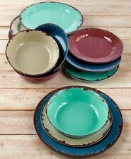 Rustic Melamine Dinnerware Set - Plastic Farmhouse Plates and Bowls - 12 Pc.