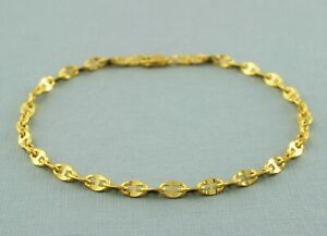 "9ct Yellow Gold Marine Style / Mariner Style Anchor Chain Bracelet 19cm / 7.5"""