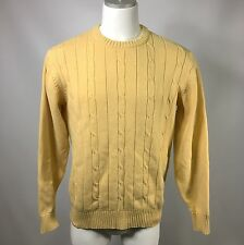 OSCAR DE LA RENTA CREW NECK SWEATER Men's L LONG-SLEEVE Cable Knit Yellow (e)