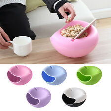 Double Layer Snack Fruit Plate Bowl Dish with Phone Holder Home Lazy Tools CI
