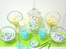 8 SET ROYAL Candy Lolly Buffet Glass Jars Wedding Free Tongs & Scoops