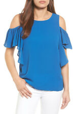 BOBEAU Cold Shoulder Ruffle Sleeve Top Royal Medium Large, PXSmall NEW AUTH