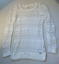 BNWOT HOLLISTER CO ORANGE COUNTY SWEATER IVORY CROCHET SIZE S